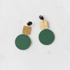 handamde womens gold and hunter green geometric earrings katie bartels