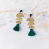 handmade womens gold half circle and hunter green tassel earrings katie bartels