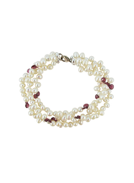 womens pearl and garnet grace bracelet katie bartels