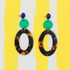 handmade womens green circle and tortoise open oval earrings katie bartels