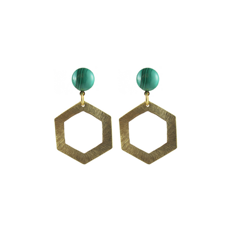 handmade designer womens gold hexagon earrings katie bartels