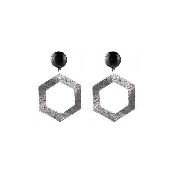 handmade designer womens silver hexagon earrings katie bartels