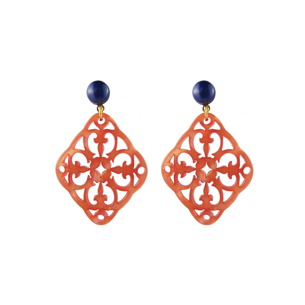 Isa Earrings, coral