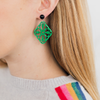 Isa Earrings, emerald green