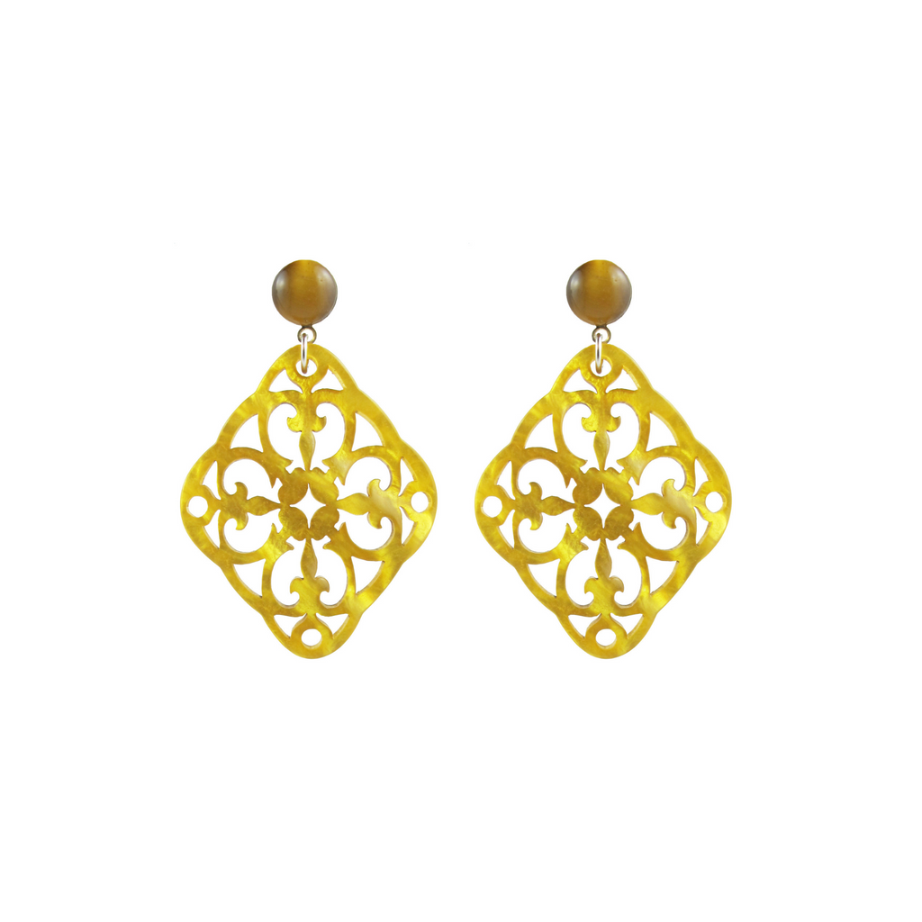 handmade designer womens saffron yellow isa earrings katie bartels