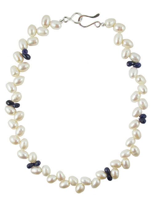 womens white pearl and blue sapphire jackie necklace katie bartels