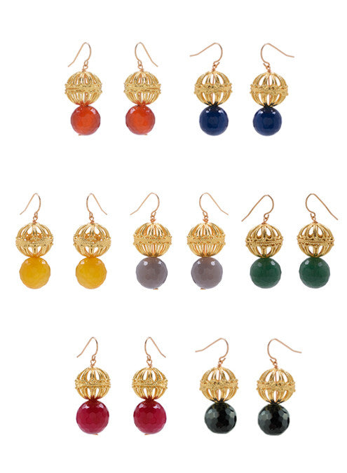 handmade ornate gold bead and multicolor gemstone earrings, india inspired jewelry