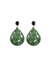 green laser cut wood earrings