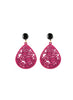 womens hot pink and black janna earrings katie bartels