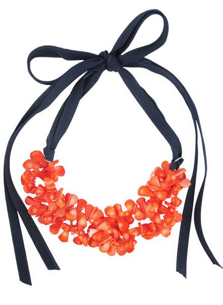 womens peach coral and navy jess necklace katie bartels