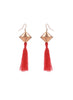 womens red and brass johari earrings katie bartels