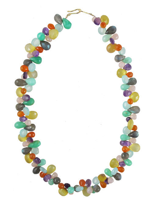 handmade amethyst, carnelian, labradorite, chrysoprase, and multicolor chalcedony gemstone statement necklace