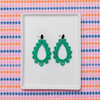 handmade womens green tear drop earrings katie bartels