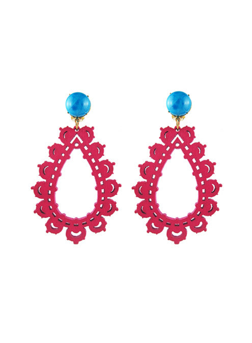 womens pink and turquoise clip-on krina earrings katie bartels