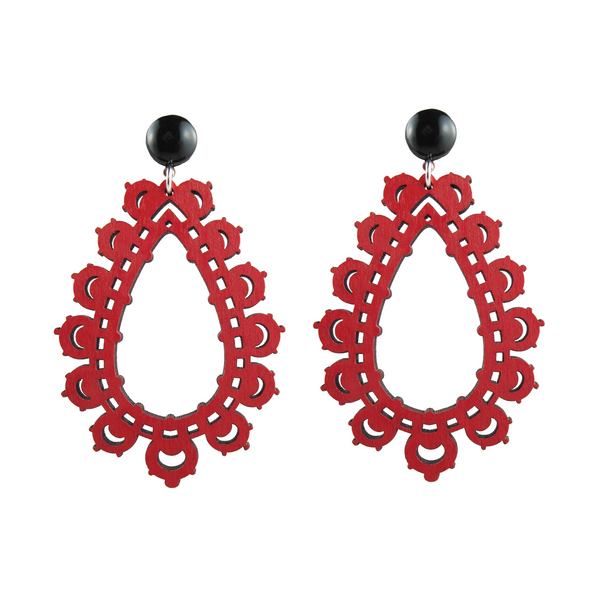 handmade designer womens red krina earrings katie bartels