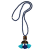 handmade womens lapis and tortoise and tassel pendant necklace katie bartels