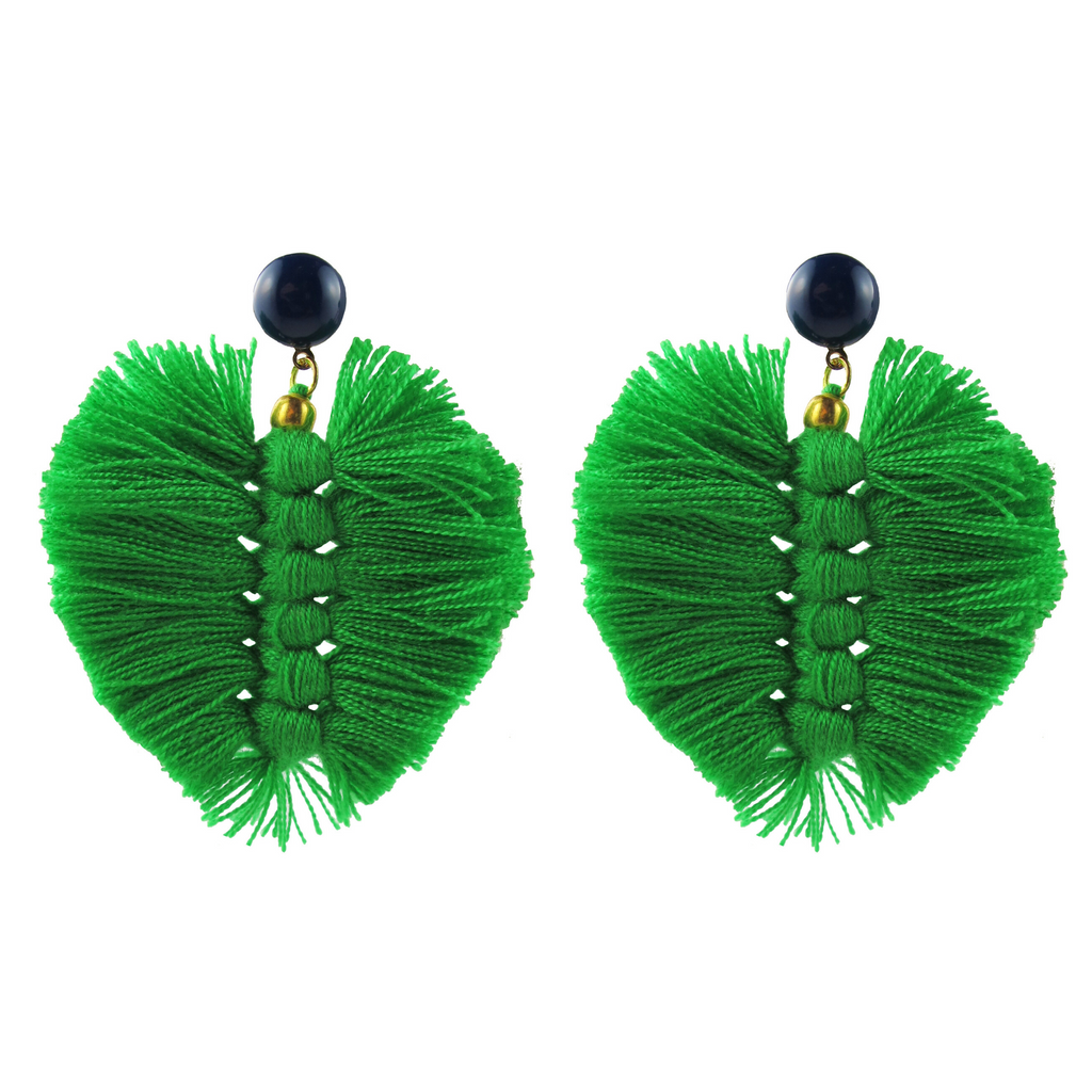 handmade designer womens green palm earrings katie bartels