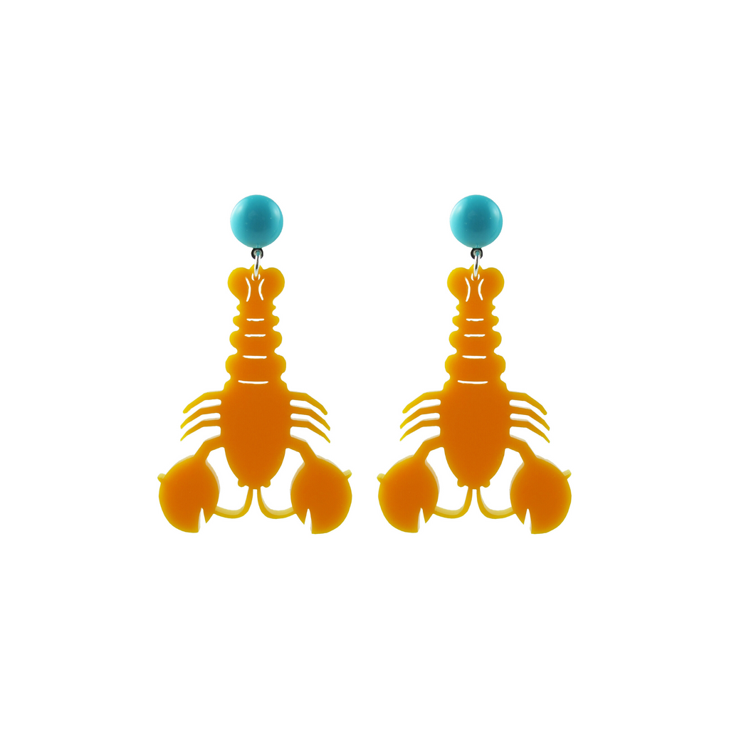 handmade womens orange lobster earrings katie bartels