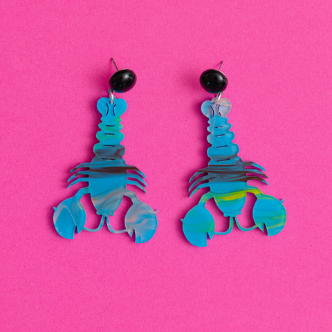 womens blue swirl lobster earrings katie bartels