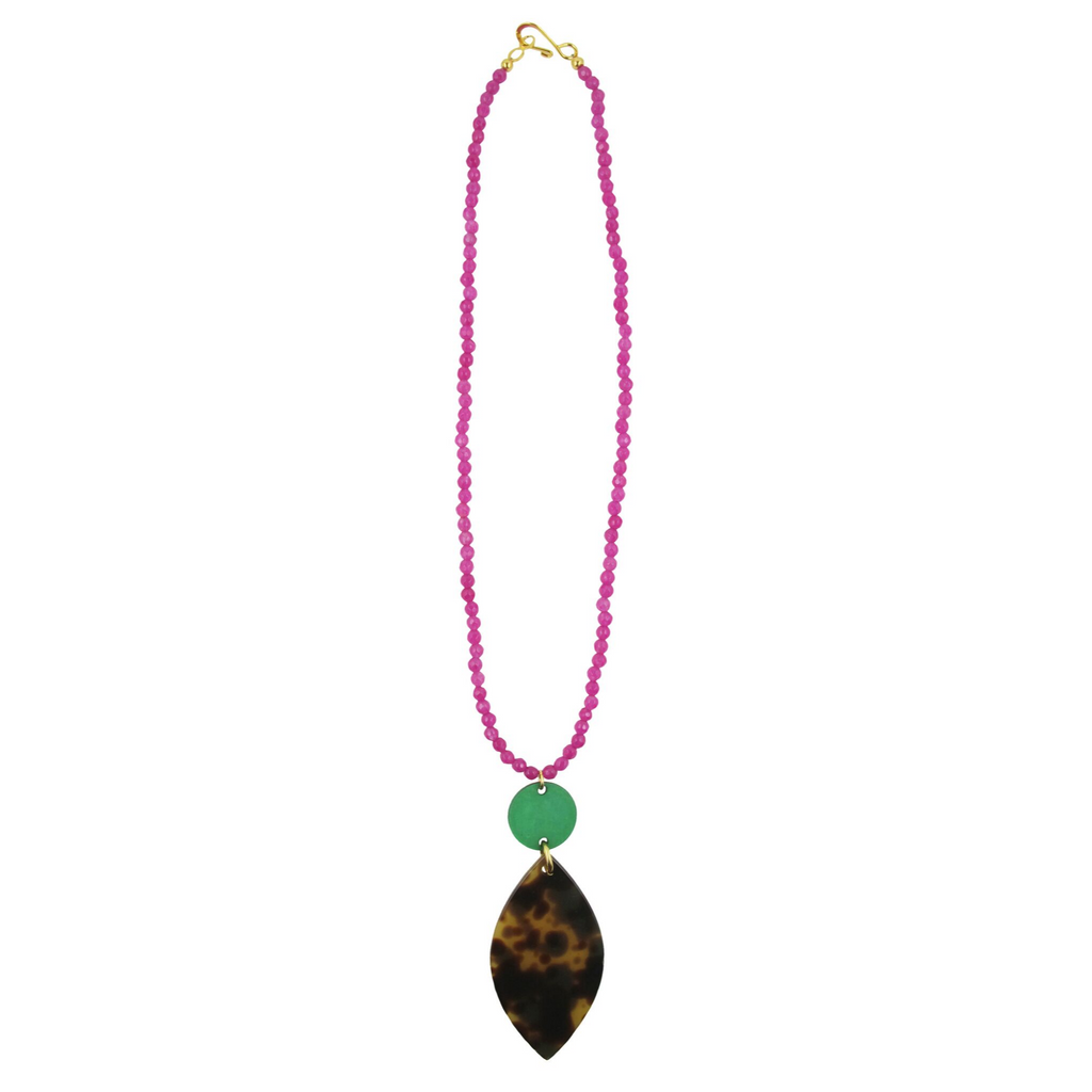 handmade womens magenta agate and geometric pendant necklace katie bartels