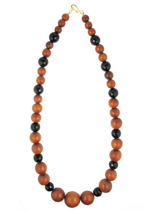 womens black and brown wood makrana necklace katie bartels