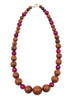 womens pink and brown wood makrana necklace katie bartels