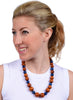 womens blue and brown wood makrana necklace katie bartels