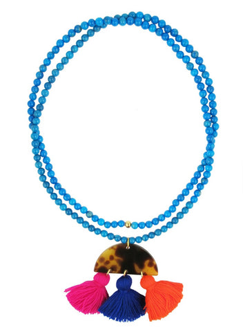 womens tortoise resin and tassel madri necklace katie bartels
