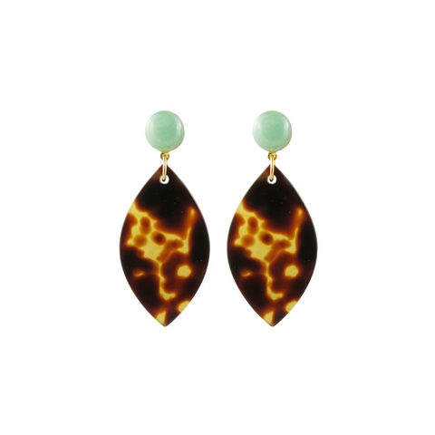 handmade designer womens tortoise marquise earrings katie bartels