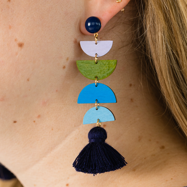 hand-painted lilac, olive, and blue geometric drop earrings katie bartels