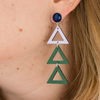 hand-painted lilac and hunter green triangle drop earrings katie bartels