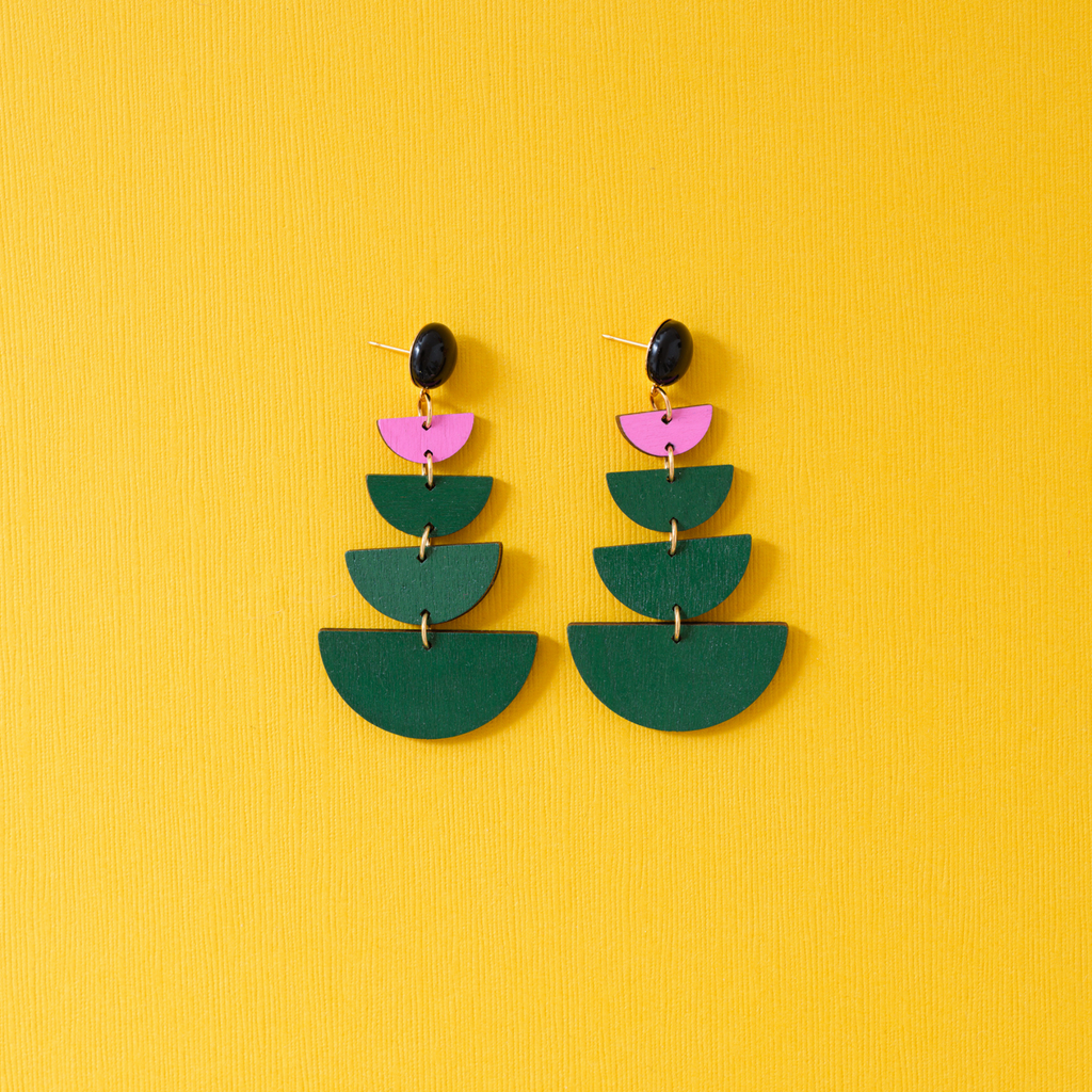 hand-painted pink and green geometric drop earrings katie bartels