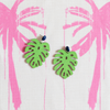 handmade womens lime green monstera leaf earrings katie bartels