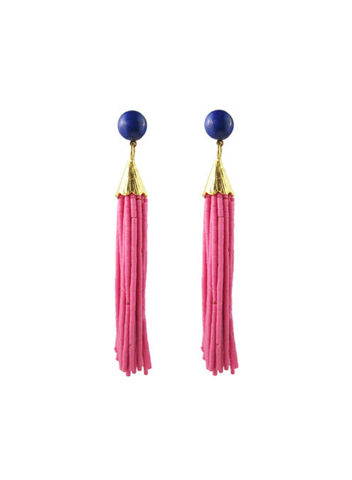 womens mounia earrings pink long katie bartels