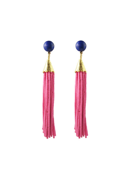 handmade designer womens mounia earrings pink long katie bartels