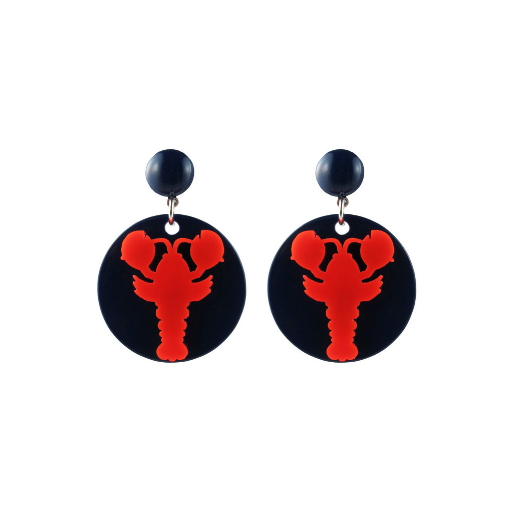 handmade womens navy circle and red lobster drop earrings katie bartels