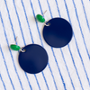 handmade womens navy circle earrings katie bartels