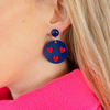 womens navy circle and red heart earrings katie bartels