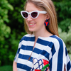 handmade womens navy circle and red lobster earrings katie bartels