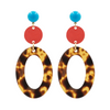 handmade designer womens red circle and tortoise open oval earrings katie bartels