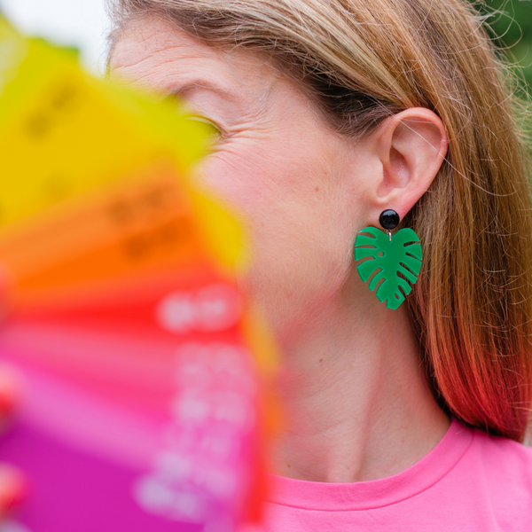 handmade womens green palm earrings katie bartels