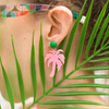 handamde womens pink palm tree earrings katie bartels