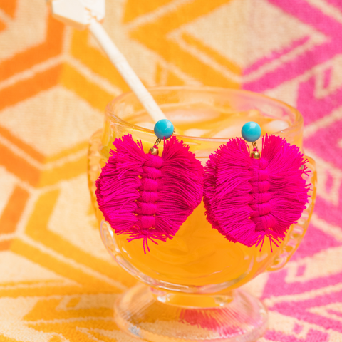 handmade womens pink palm earrings katie bartels