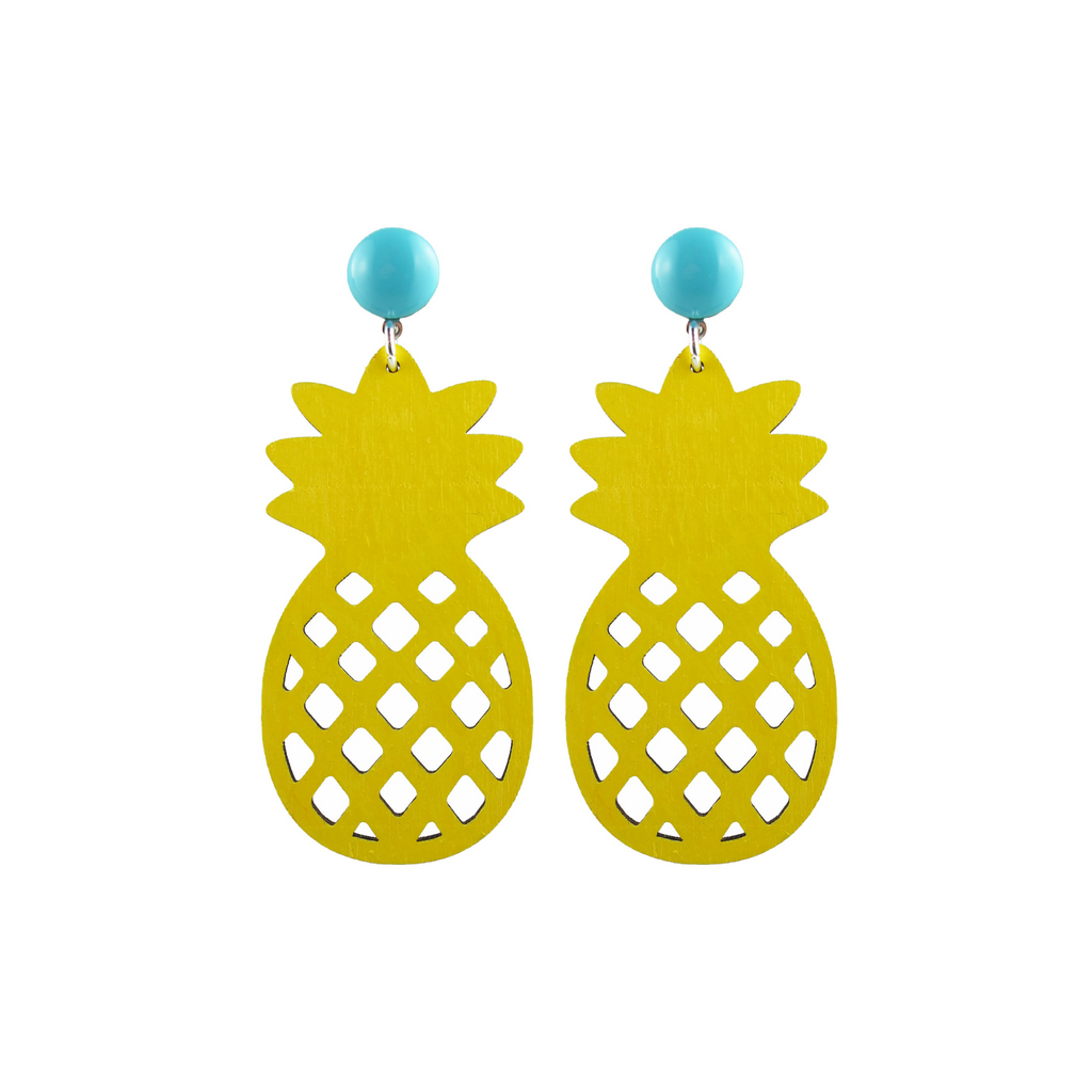 handmade designer womens yellow pineapple earrings katie bartels
