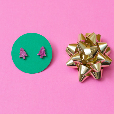 handmade designer pink glitter tree earrings katie bartels