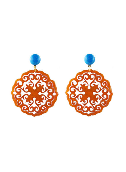womens orange circle preeti earrings katie bartels