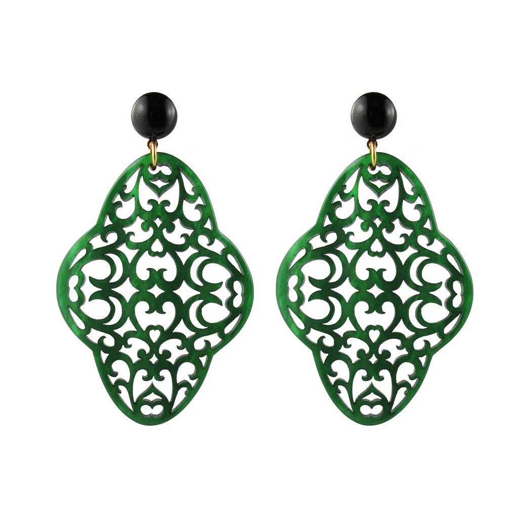 handmade designer womens green preeti earrings katie bartels