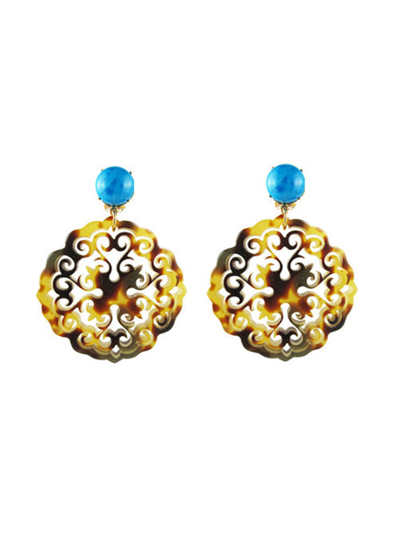 womens tortoise clip-on preeti earrings katie bartels