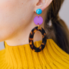 handmade womens tortoise open oval and purple circle earrings katie bartels
