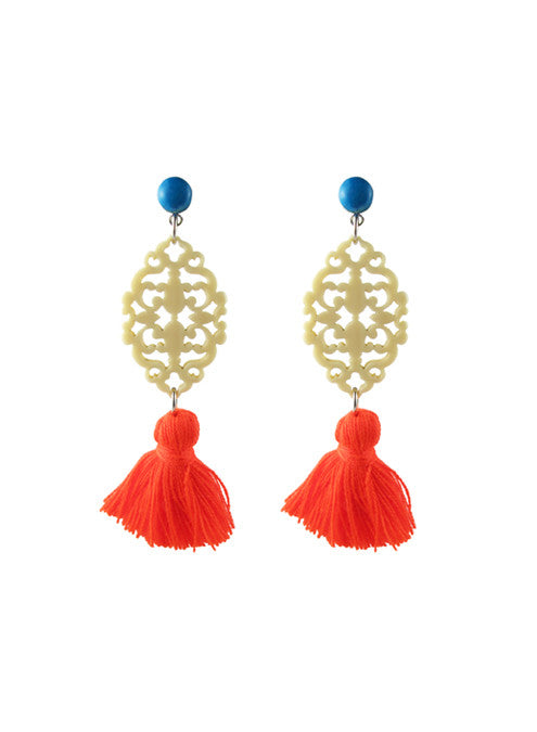 womens turquoise and orange reva earrings katie bartels